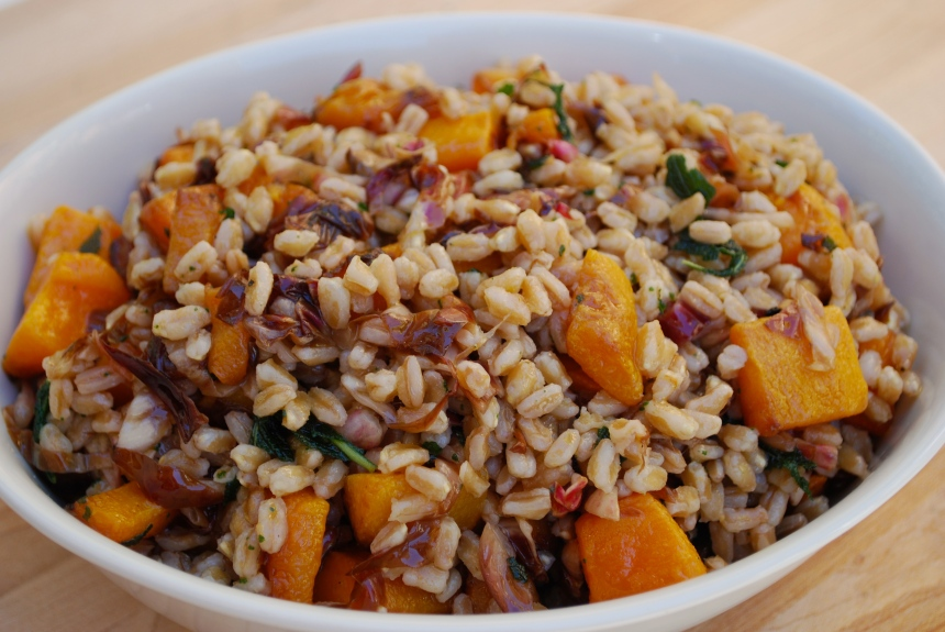 Farro Salad with Roasted Squash, Radicchio & Sage