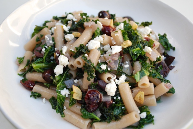 Pasta with Kale, Olives and Cranberries